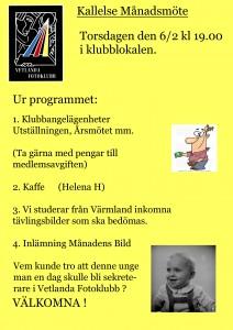 Kallelse månadsmöte febr 2014