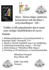 Kallelse månadsmöte mars 2014